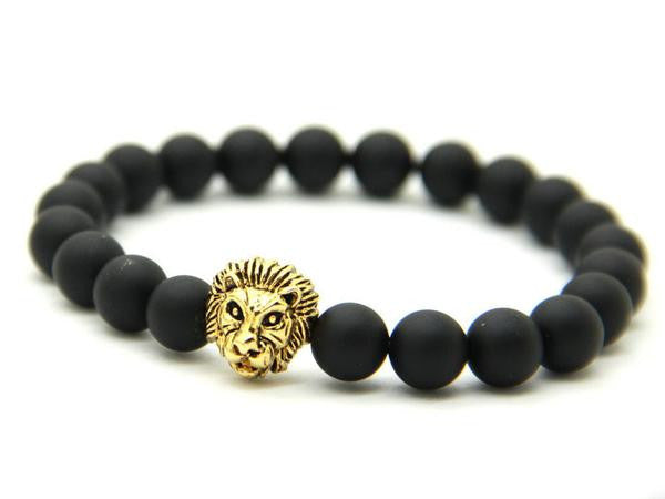 Lion's Head Black Lava Rock Stone Bracelet