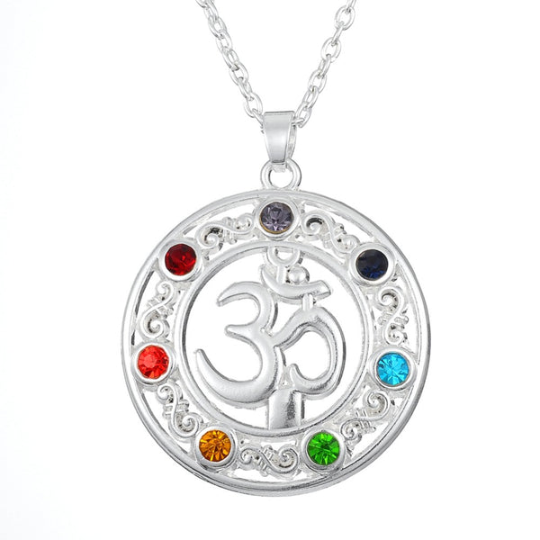 Flower of Life Stones and Crystals OM Yoga Pentagram Necklace