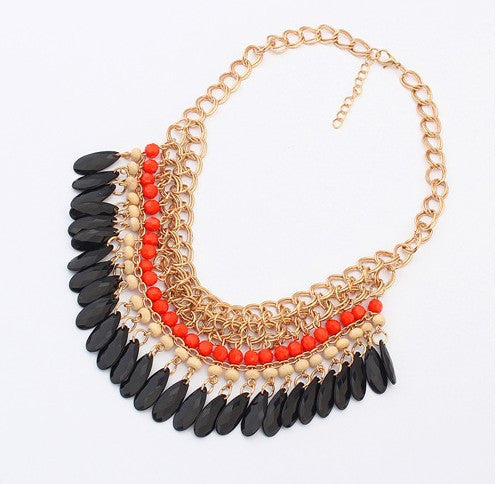 Bohemian Rhinestone Chain Collar Necklace