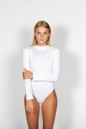 LS Ribbed Cotton Bodysuit WHITE