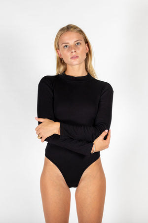 LS Ribbed Cotton Bodysuit Black
