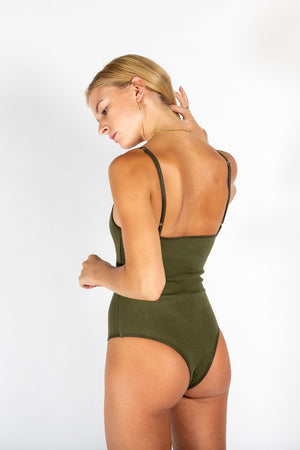 Ribbed cotton bodysuit KHAKI GREEN