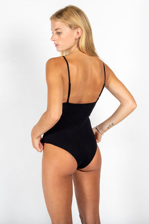 Ribbed cotton bodysuit BLACK