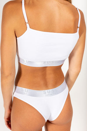 ribbed logo briefs white