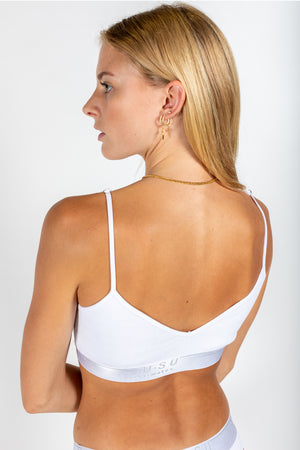 reversible ribbed logo bralette white