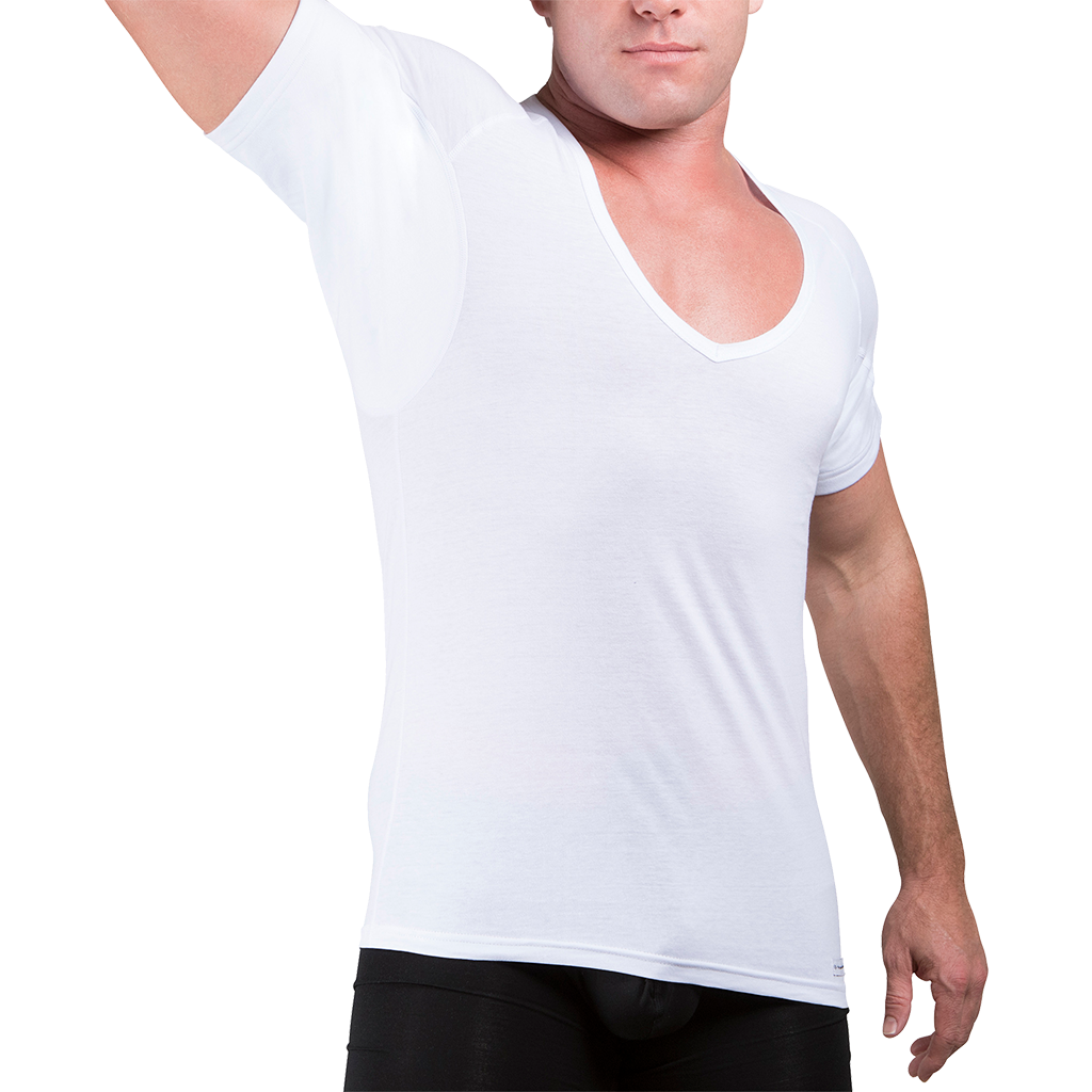 Sweat Defense Undershirt | Deep V Neck | Underarm Sweat Proof Cotton