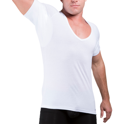 Sweat Defense Undershirt | Deep V Neck | Underarm Sweat Proof Cotton - Ejis, inc.