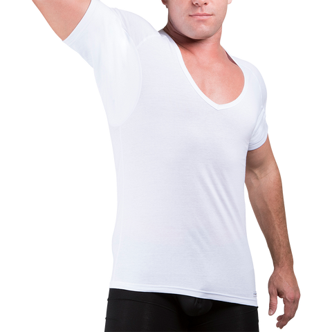 Deep V-Neck Cotton Sweat Proof Undershirt - Ejis, inc.
