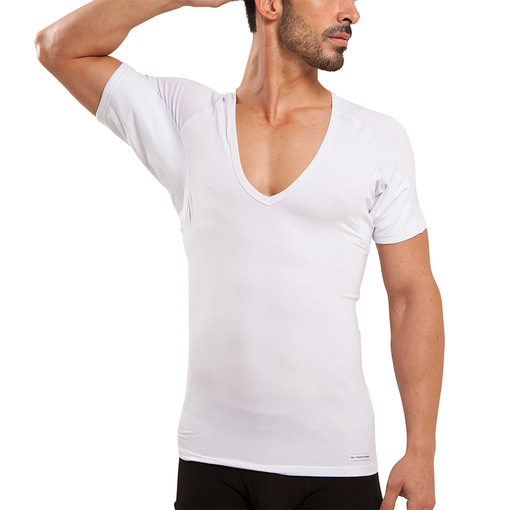 Deep V-Neck Micro Modal Underarm Sweat Proof Undershirt