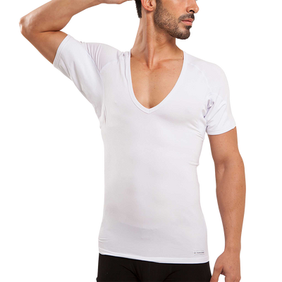 Sweat Defense Undershirt | Deep-V Neck | Underarm Sweat Proof Micro Modal - Ejis, inc.