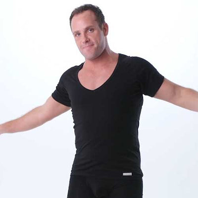 Deep V-Neck Cotton Underarm Sweat Proof Undershirts - Ejis, inc.