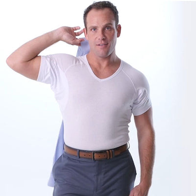 Sweat Defense Undershirt | V Neck | Underarm Sweat Proof Cotton - Ejis, inc.