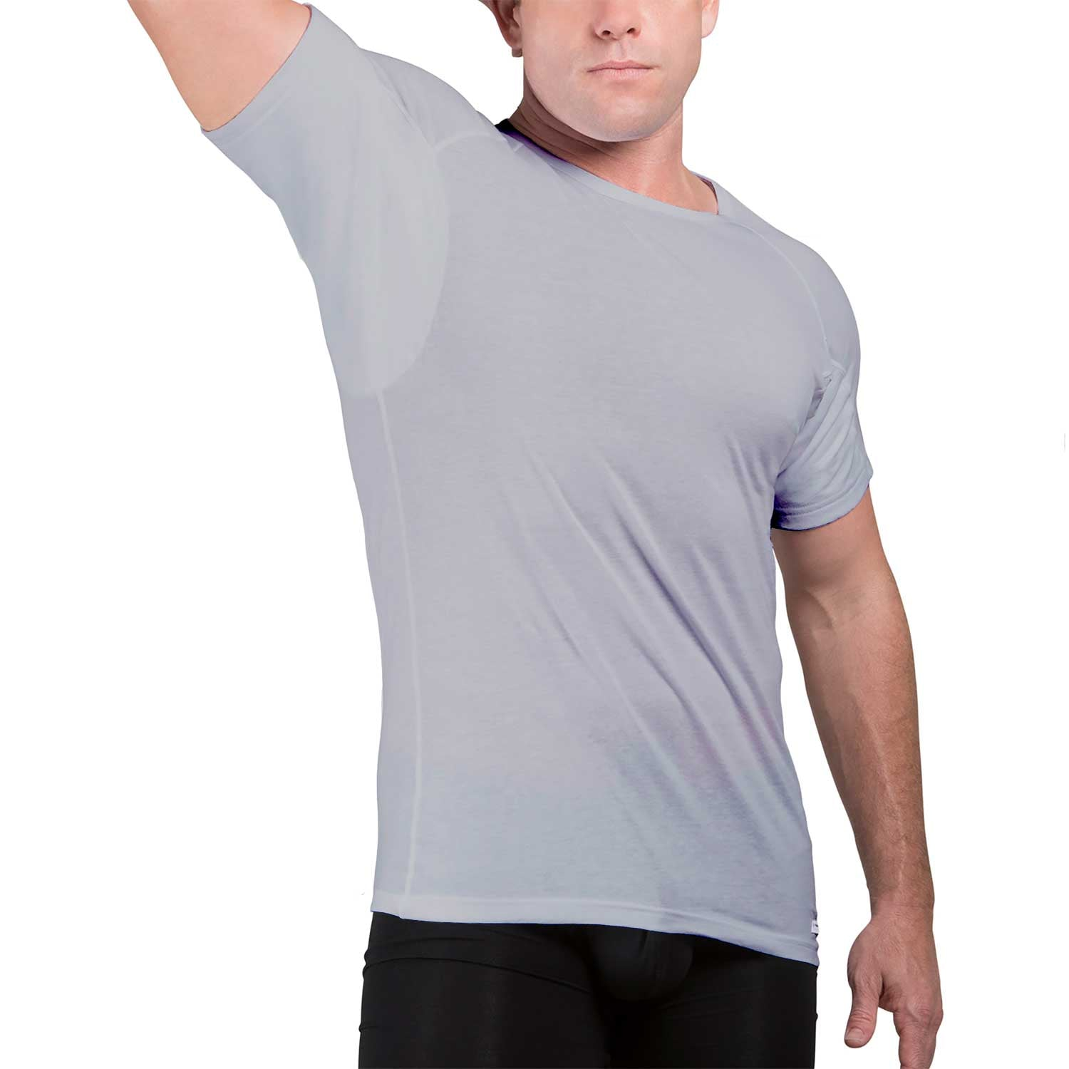 Ejis Sweat Proof Undershirts with Sweat Pads and Silver Micro Modal Crew Neck