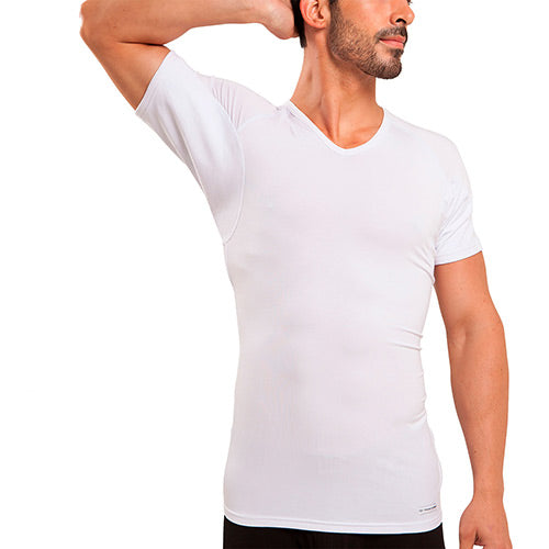V-Neck Micro Modal Underarm Sweat Proof Undershirt - Ejis, inc.