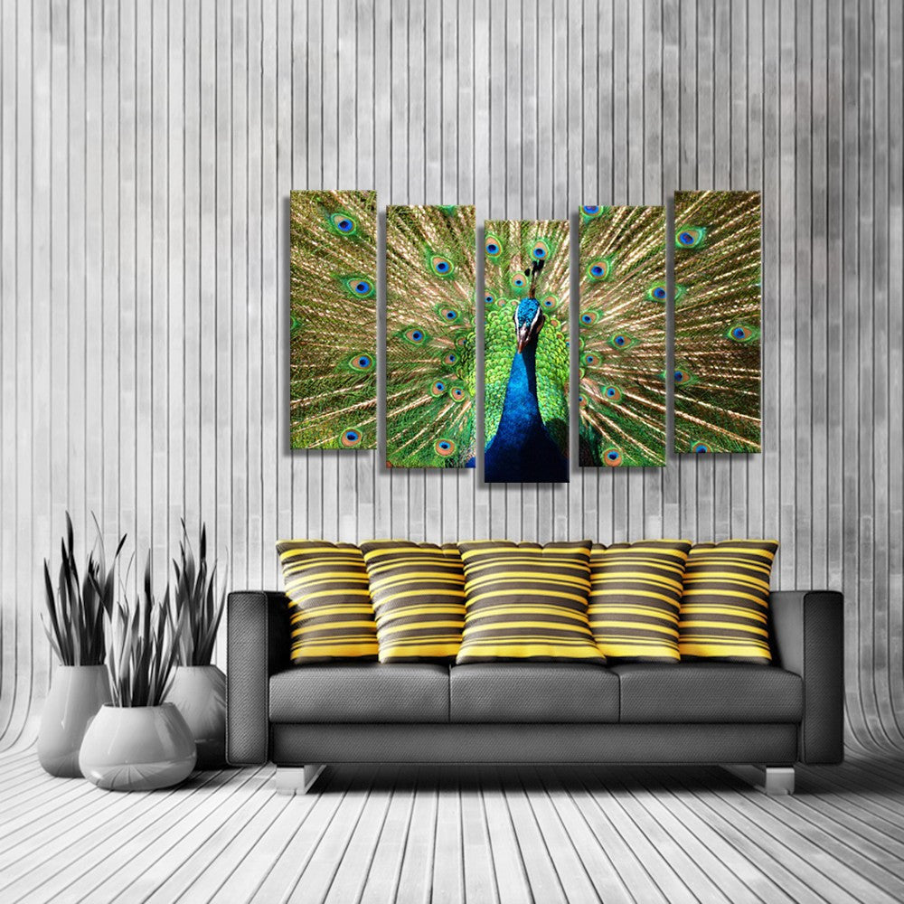 Peacock Wall Art Prepossessing 5 Panel Peacock Wall Art  Onetrolley Decorating Design