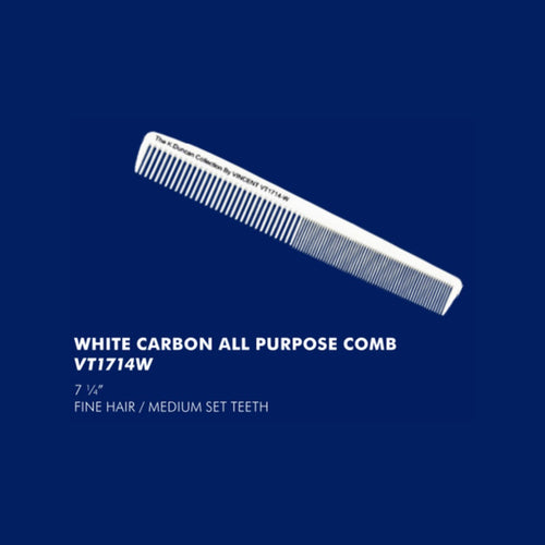 Vincent White Carbon All Purpose Comb VT1714W