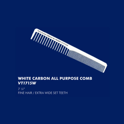 Vincent White Carbon All Purpose Comb VT1715W