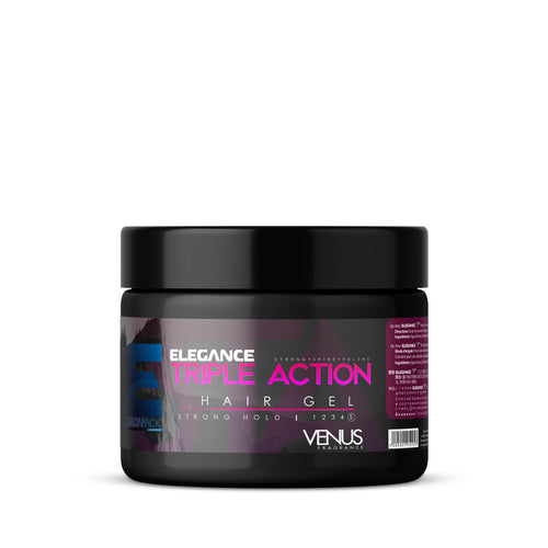 Elegance Triple Action Strong Hold Hair Gel (Pink)