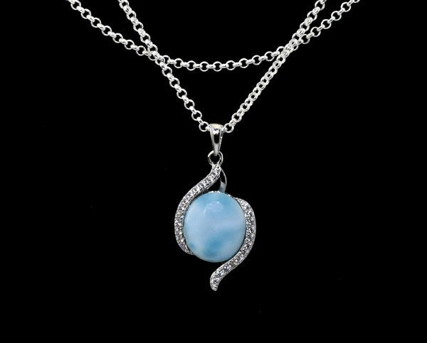 Larimar 10X12 Pendant with White Sapphire Accents