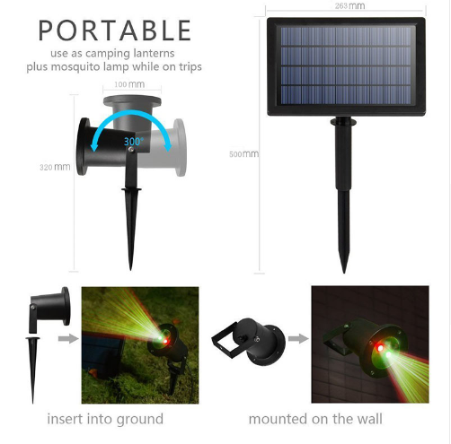 Outdoor Solar Laser Light Landscape Lamp For Garden Yard Christmas Holiday Decoration Waterproof Lamps Spotlight Star Projector