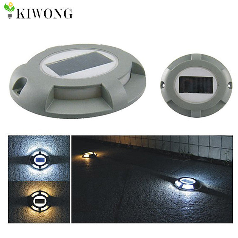 Solar Road Stud Lighting Aluminum 4-LED Outdoor Road Driveway Dock Path Ground Light Lamp Warm White And White Light