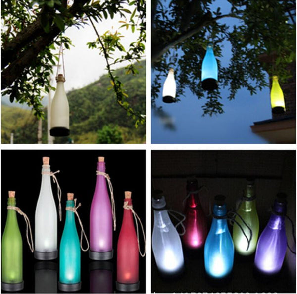 Colorful Solar Bottle Lights Solar Energy Lamp Wine Waterproof Outdoor Lawn Lights 2016 New LED Plastic Bottles Modeling Lamps