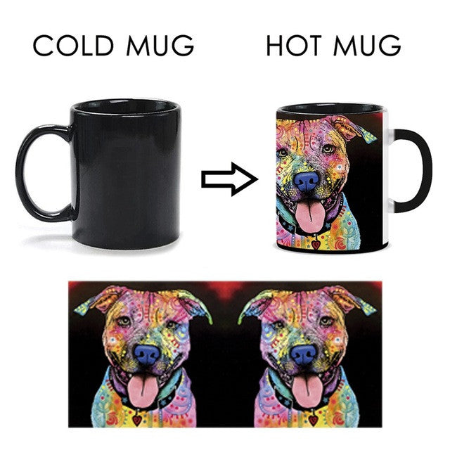 Lovely Pet Dog Pitbull Mug Unique Design Magic Mug Cup Change Color Tea Coffee Water Cup Cool Heat Changing Color Ceramic Cup