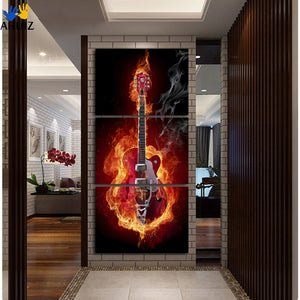3 Panel Red Burning Guitar Canvas Wall Painting