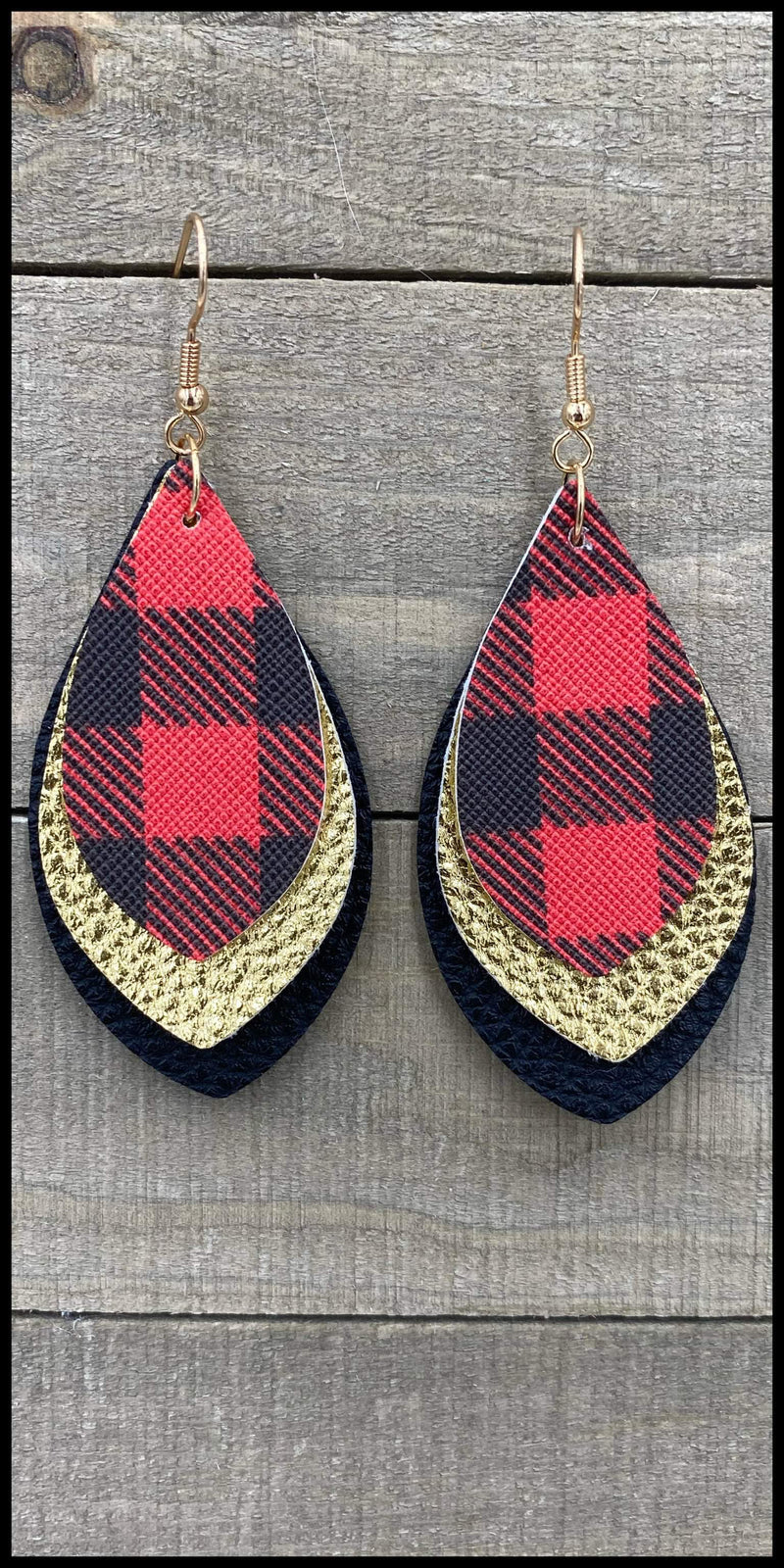 Fireside Buffalo Plaid Gold Earrings
