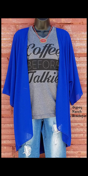 Runaway Royal Blue Kimono - Also in Plus Size