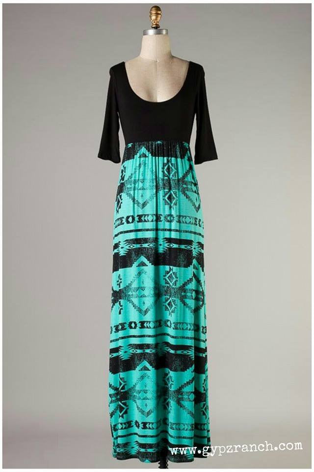 Queen of my Tribe Turquoise Maxi Dress