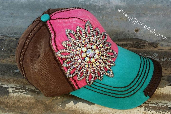 It's All About The Bling Turquoise & Pink Cap