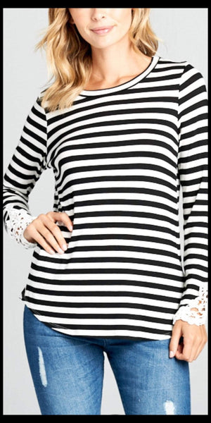 Lighthouse Stripe Crochet Sleeve Top