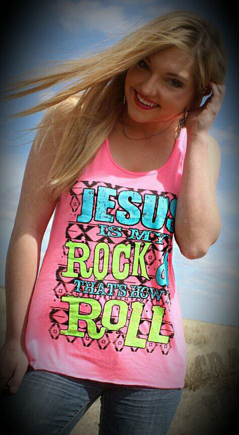 Jesus Is My Rock Neon Tank - Also in Plus Size