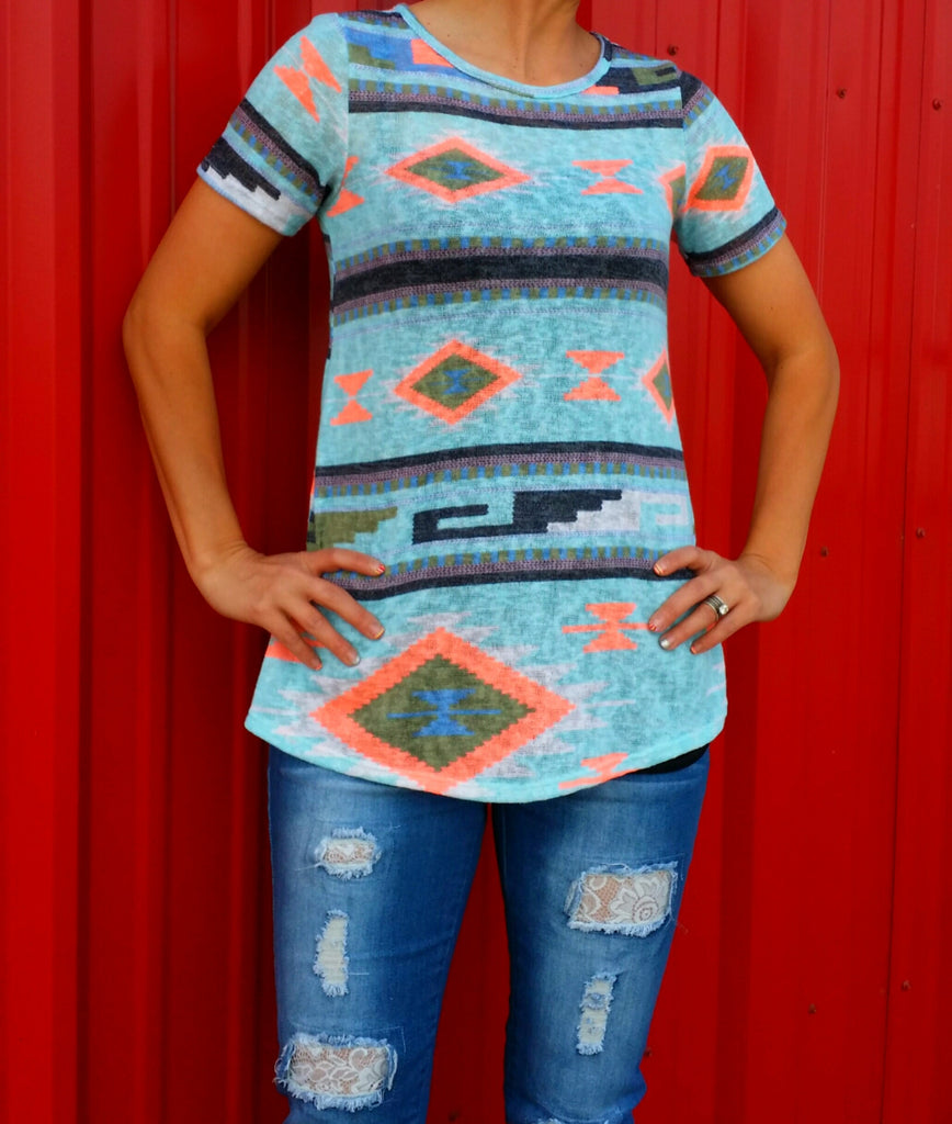 The Good Life Neon Tribal Top