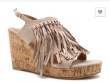 Brecklyn Taupe Fringe Wedge Sandals