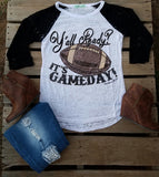 Yall Ready It's Game Day Football Top Cream - Also in Plus Size