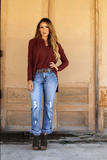 Sailor Distressed Frayed Boyfriend Jeans - Also in Plus Size