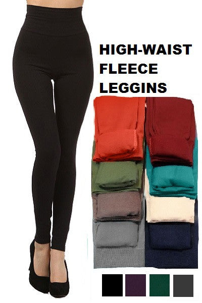 Tummy Control Black Fleece Leggings