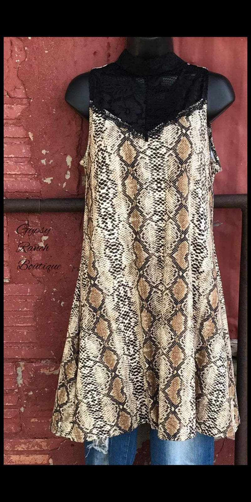Miss Hiss Lace & Snake Print Tunic Dress - Also in Plus Size