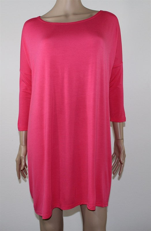 The Sadie Hot Pink Tunic Top - Plus Size
