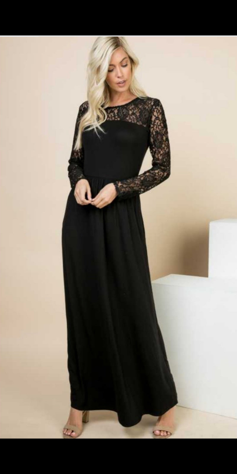 On the Town Black Lace Maxi Dress