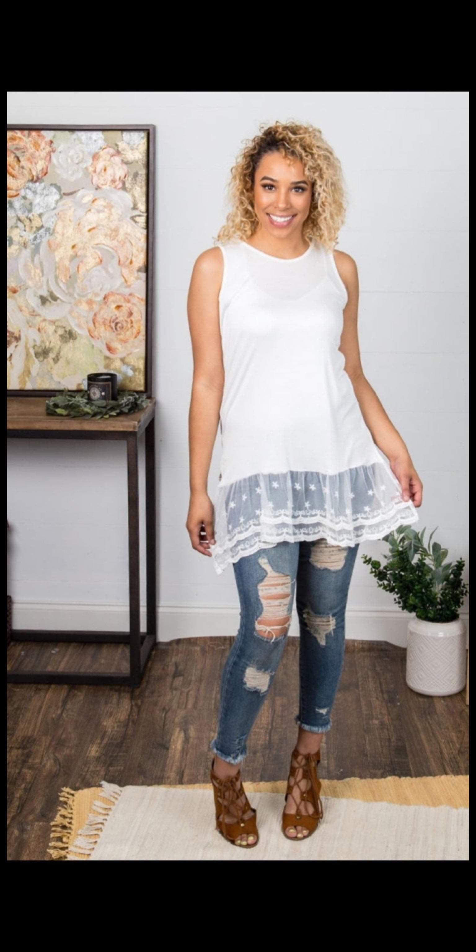 Lost in Lace Tank Top - Also in Plus Size