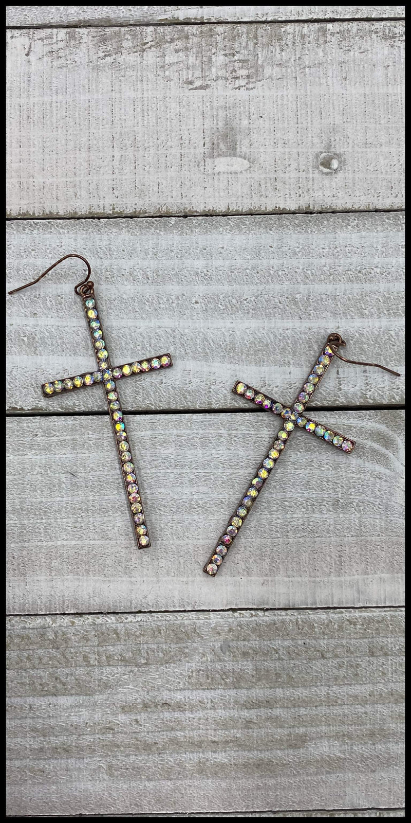 Rae Copper Rhinestone  Cross Earrings