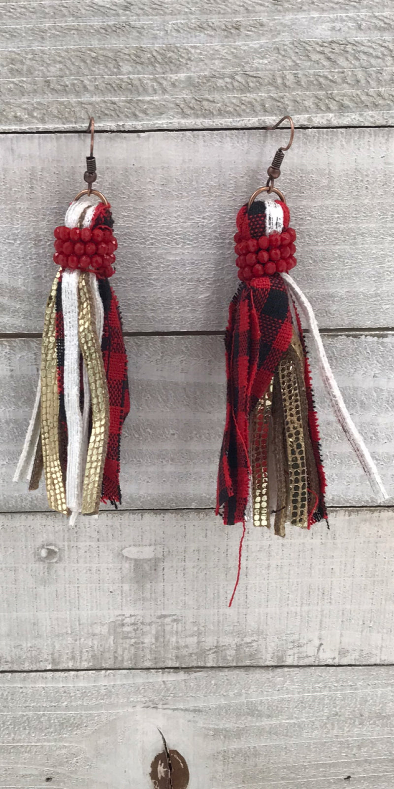 Emily Fabric Tassel Rhinestones Earrings
