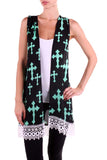 Livin On A Prayer Cross Cardigan  with Lace