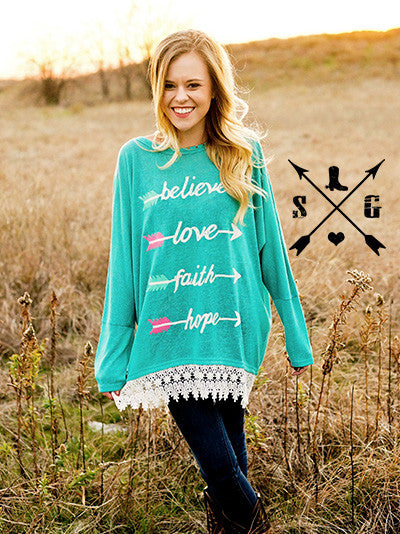Hannah Turquoise Hope Love Faith Tunic - Also in Plus Size