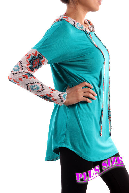 Mason Line Turquoise Aztec Baseball Hoodie- Also Plus Size