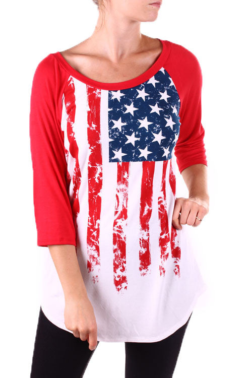 America The Beautiful Flag Red Baseball Top - Also in Plus Size