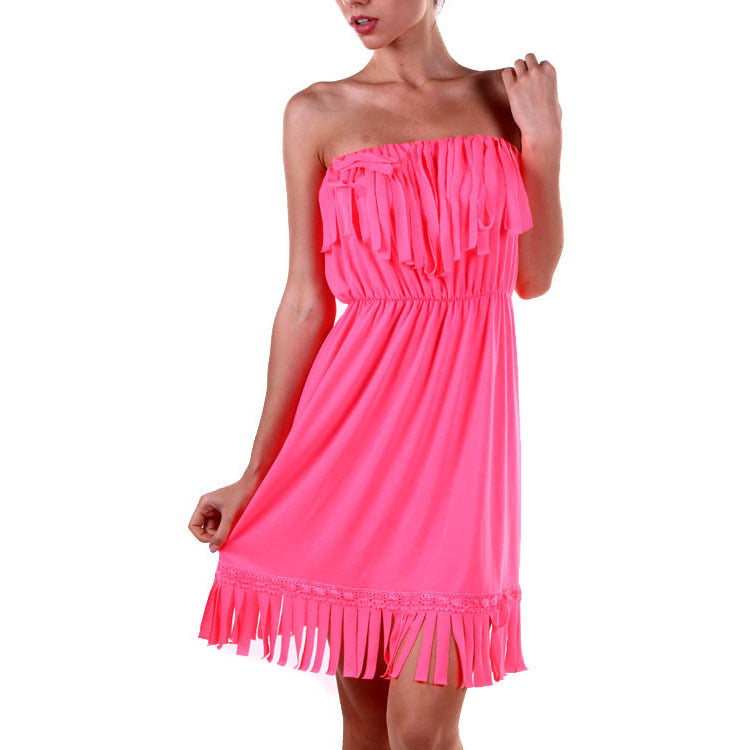 All About The Fringe Dress - Neon Pink or Black
